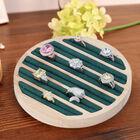Round Bamboo Ring Tray with 6 Green Velvet Slots (Size 15x1.7cm)