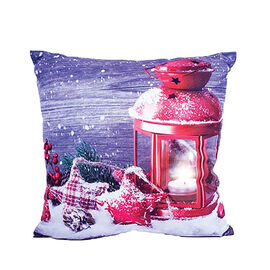 Christmas Seasonal Lantern Design Battery Operated 3 LED Cushion (Size 40x40 Cm) (2xAA Battery not I