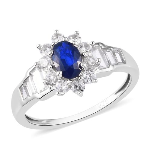 Tanzanian Blue Spinel and Cambodian Zircon Ring in Platinum Overlay Sterling Silver 1.75 Ct.