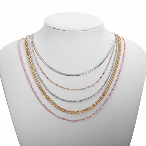 Set of 5 -  Necklace (Size 20) in Rose, White and Yellow Tone