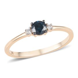 9K Yellow Gold Blue Diamond (Rnd), White Diamond (I2/G-H) Ring 0.25 Ct.