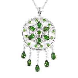 Super Auction - LucyQ Russian Diopside (Pear and Rnd) Dream Catcher Necklace (Size 20) in Rhodium Ov