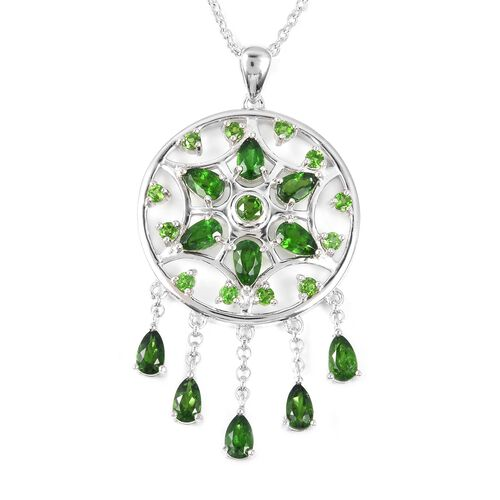 LucyQ Russian Diopside Dream Catcher Necklace in Rhodium Plated Sterling Silver 7.76 Grams