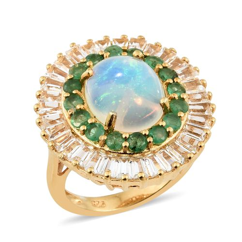 Extremely Rare Size Ethiopian Welo Opal (Ovl 12x10 mm), White Topaz and Kagem Zambian Emerald Ring in 14K Gold Overlay Sterling Silver 6.750 Ct