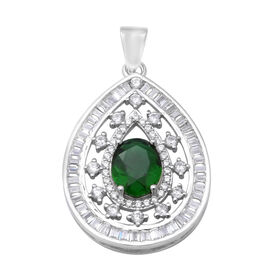 ELANZA Simulated Diopside (Ovl), Simulated Diamond Pendant in Rhodium Overlay Sterling Silver, Silve