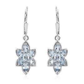 Espirito Santo Aquamarine (Ovl) Floral Lever Back Earrings in Platinum Overlay Sterling Silver 2.59
