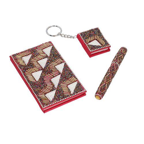 3 Piece Set - Fuchsia Bead Decorated Diary, Key Chain and Pen