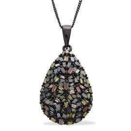 Firecracker Colour Diamond (Bgt) Teardrop Pendant With Chain in Black Rhodium Plated Sterling Silver