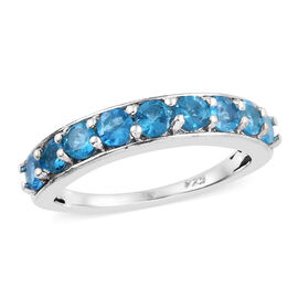 1 Carat Neon Apatite Half Eternity Ring in Platinum Plated Sterling Silver