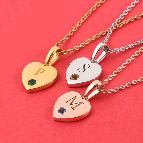 Personalise Engraved Heart and Birthstone Pendant with Chain in Silver