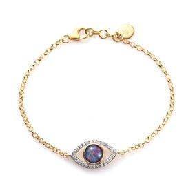 Australian Boulder Opal and Natural Cambodian Zircon Eye Bracelet (Size - 7.5) in 14K Gold Overlay S