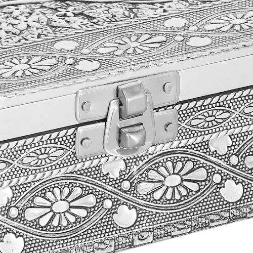 3D Embossed Collection Handcrafted Peacock Oxidised Jewellery Box (Size 23x17.7 Cm) with Red Velvet Interior