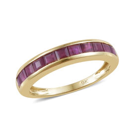 9K Yellow Gold AAA Burmese Ruby (Princess Cut) Half Eternity Band Ring 1.250 Ct.