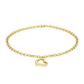 9K Yellow Gold Heart Charm Bracelet (Size 7.25)