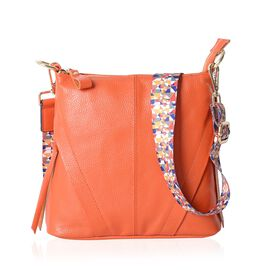 Super Soft 100% Genuine Leather Orange Colour Crossbody Bag with External Zipper Pocket and Rainbow Strap (Size 25x23x8 Cm)