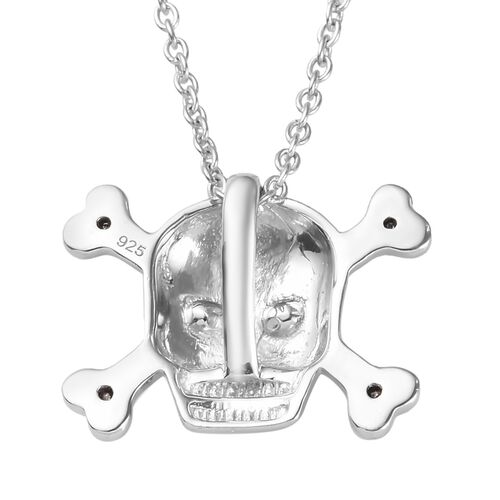 Black Diamond (Rnd) Skull Pendant with Chain (Size 18) in Platinum Overlay and Black Plating Sterling Silver 0.09 Ct.