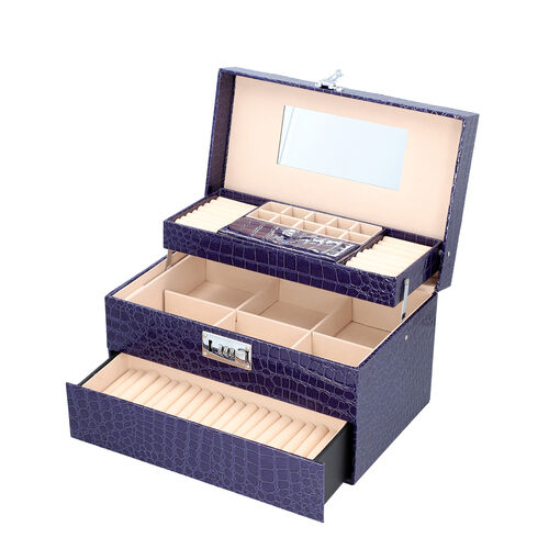 Three Layer Crocodile Skin Pattern Jewellery Box with Inside Mirror and Coded Lock (Size 33x21x19cm) - Blue