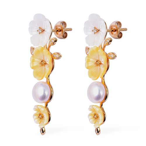 Jardin Collection - Yellow and White Mother of Pearl, Freshwater Pearl, Citrine and Natural White Cambodian Zircon Earrings (with Push Back) in Yellow Gold Overlay Sterling Silver