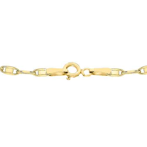 9K Yellow Gold Flat Oval Link Chain (Size 20), Gold wt 3.40 Gms