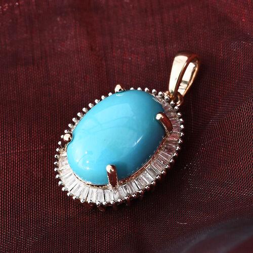 9K Yellow Gold AAA Arizona Sleeping Beauty Turquoise (Ovl 14x10 mm), Diamond Pendant 5.250 Ct.