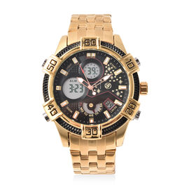 GENOA Two-Movement Watch with Multi Functional Buttons in Black and Gold Tone