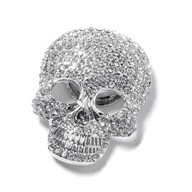 Austrian White and Black Crystal Skull Brooch with Magnet in Silver Plated