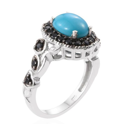 Arizona Sleeping Beauty Turquoise (Ovl 2.25 Ct), Boi Ploi Black Spinel Ring in Platinum Overlay Sterling Silver 3.350 Ct.