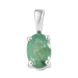 9K White Gold AA Kagem Zambian Emerald (Ovl) Pendant 0.450 Ct.