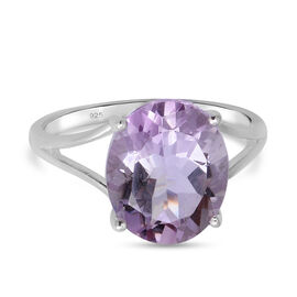 Pink Amethyst Solitaire Ring in Sterling Silver 4.30 ct.