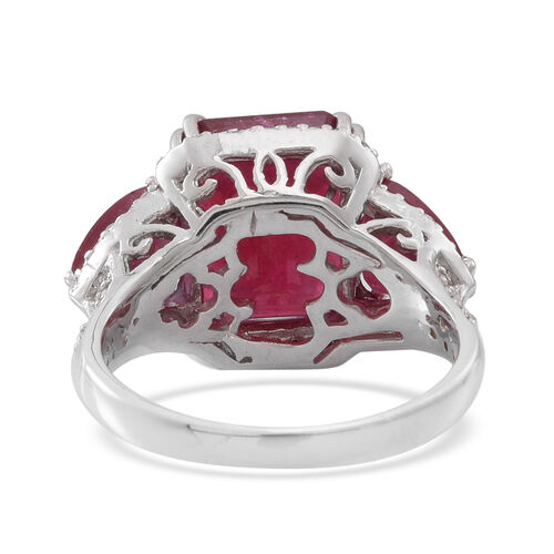 African Ruby (Oct 9.15 Ct), Natural White Cambodian Zircon Ring in Rhodium Plated Sterling Silver 12.970 Ct.