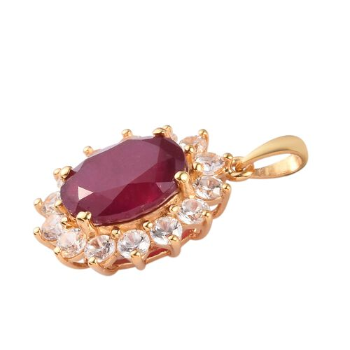 Red Carpet Collection- African Ruby and Natural Cambodian Zircon Pendant  in 14K Gold Overlay Sterling Silver 6.31 Ct.