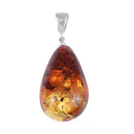 Bi-Colour Baltic Amber Pendant in Rhodium Overlay Sterling Silver
