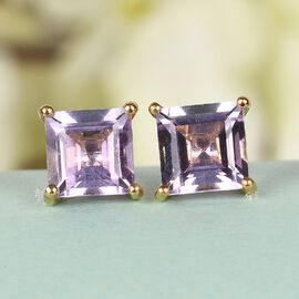 Rose De France Amethyst Stud Earrings (with Push Back) in 14K Gold Overlay Sterling Silver 2.210 Ct.