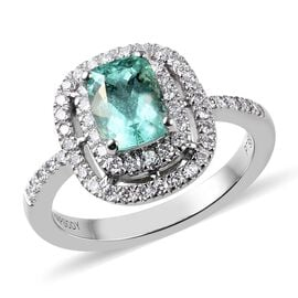 RHAPSODY 1.08 Ct AAAA Mozambique Paraiba Tourmaline and Diamond Halo Ring in 950 Platinum VS EF