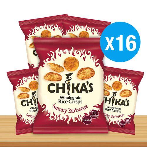 CHIKAS Smoky BBQ Rice Crisps, 16 x 25g
