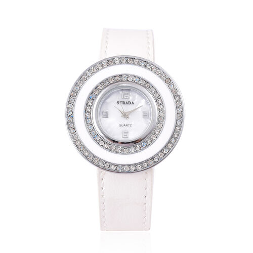 Time Piece Pick Of the Show Deal - STRADA Japanese Movement Mother of Pearl Watch With  Interchangeable Bezels - White Strap
