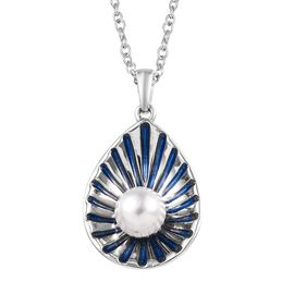 Freshwater Pearl (Rnd) Enamelled Shell Pendant With Chain in Platinum Overlay Sterling Silver, Silve