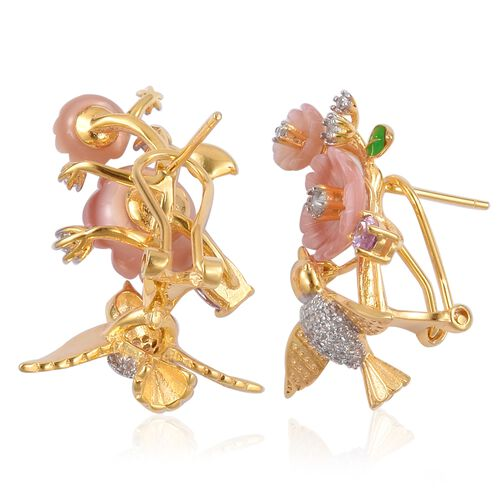 JARDIN COLLECTION - Pink Mother of Pearl and Muti Gemstones Hummingbirds Earrings (with French Clip) in Gold and Rhodium Overlay with Enameled Sterling Silver 4.540 Ct.