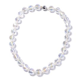 White Mystic Color Glass Beaded Necklace in Stainless Steel 20 Inch