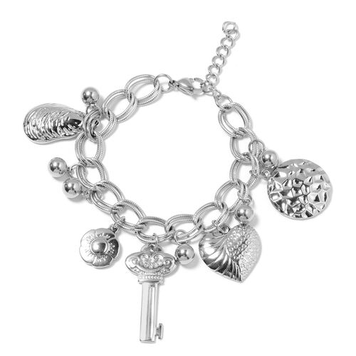 One Time Deal-Stainless Steel Charms Bracelet (Size 7.5) with Lobster Lock.