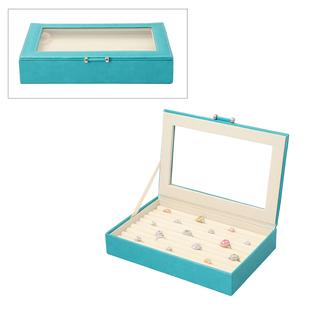 Portable Anti Tarnish Lining Jewellery Box with Glass Window (Size:26.7x17.8x5.5Cm) - Teal