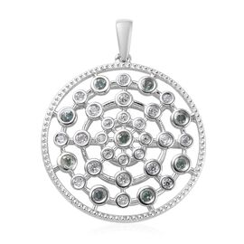 0.84 Ct Narsipatnam Alexandrite and Zircon Cluster Circle Pendant in Platinum Plated Silver
