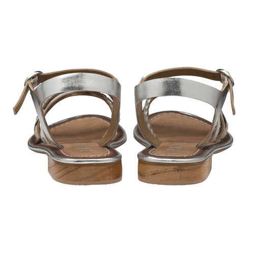 Ravel Cudal Leather Flat Sandals (Size 4) - Silver