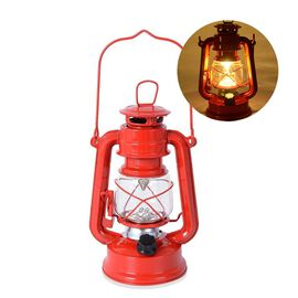 Red- Vintage LED Hurricane Lantern with Dimmer Switch (Size 19 Cm) (4xAA  Battery not Included)