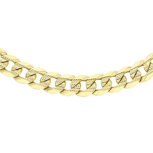 JCK VEGAS 2019- 9K Yellow Gold Diamond Cut Curb Chain (Size 20), Gold Wt. 19.74 Gms