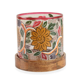 Yellow, Pink and Multi Colour Floral and Leaves Hand Painted Candle Stand with Wooden Base (Size 12.5x11.5 Cm)