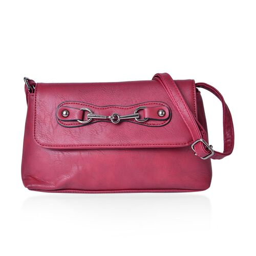 Red Colour Horsebit Buckle Design Crossbody Bag with Adjustable Shoulder Strap (Size 23X16X5.5 Cm)