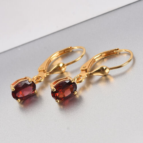 Mozambique Garnet Lever Back Earrings in 14K Gold Overlay Sterling Silver 1.75 Ct.