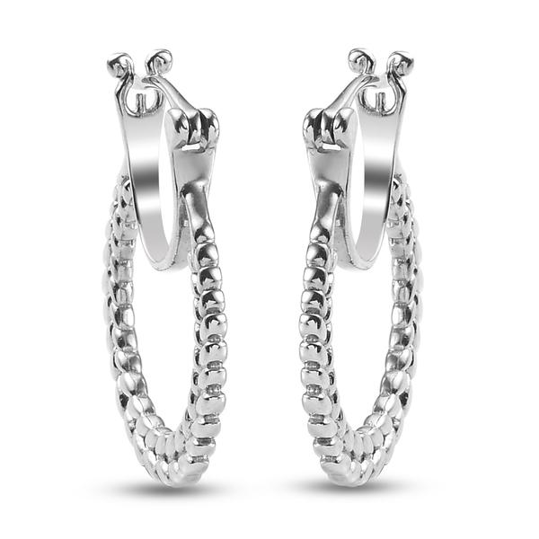 Leaf Hoop Earrings in Platinum Plated Sterling Silver