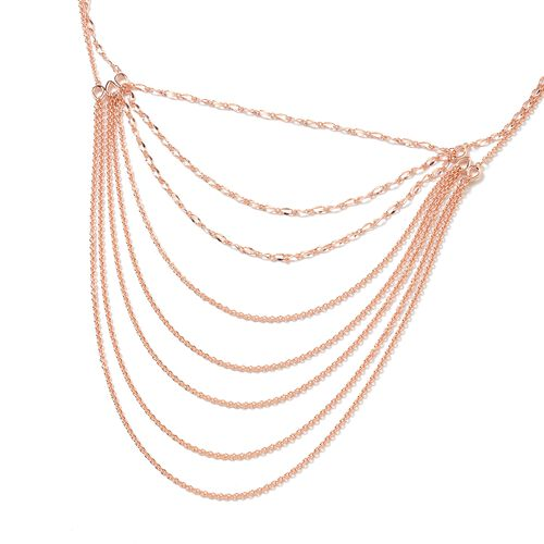 Lucy Q Rose Gold Overlay Sterling Silver Multi Strand Necklace (Size 18 and 5 inch Extender), Silver wt 19.91 Gms.